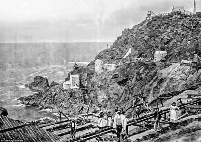 The Crowns section of Botallack Mine, 1860's.
