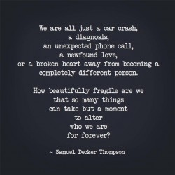 How beautifully fragile we are