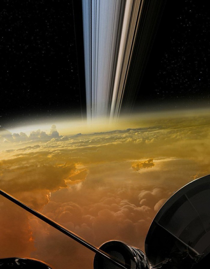 The closest picture of Saturn so far taken by Spacecraft Cassini.