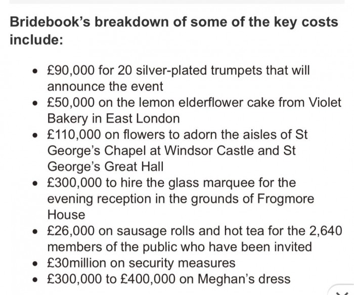 "Just a handful of detailed costs for ""the"" wedding of the benefits scroungers"
