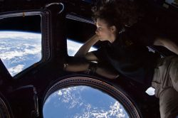 Tracy Caldwell Dyson viewing Earth from the ISS Cupola, 2010