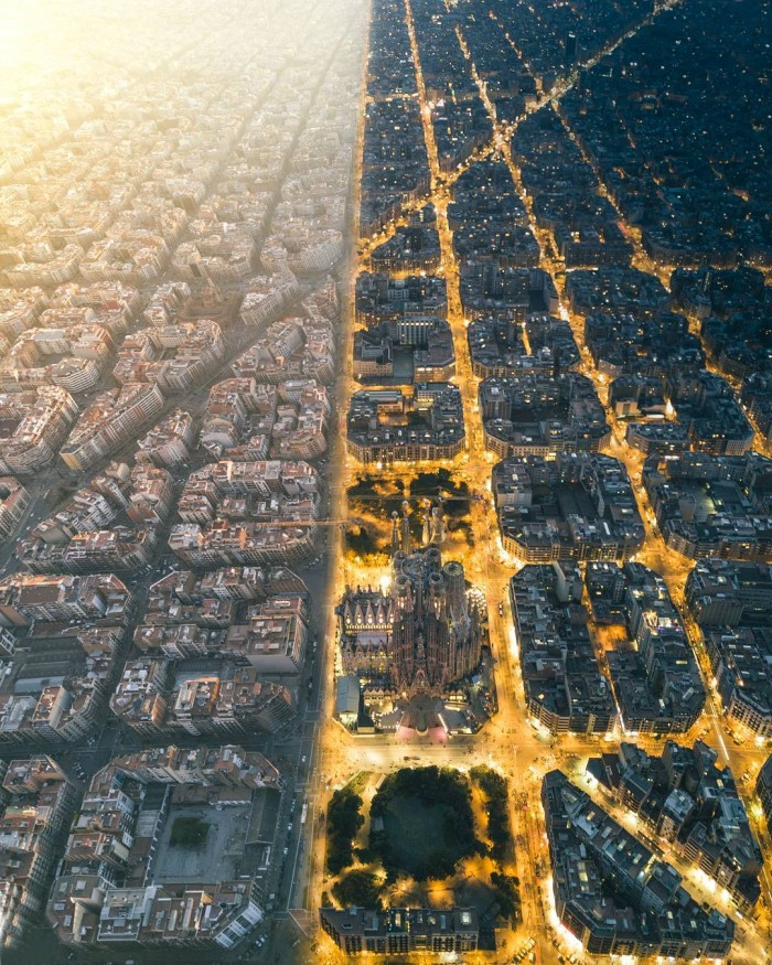 """Day & night views above Barcelona"" by Henry Do."