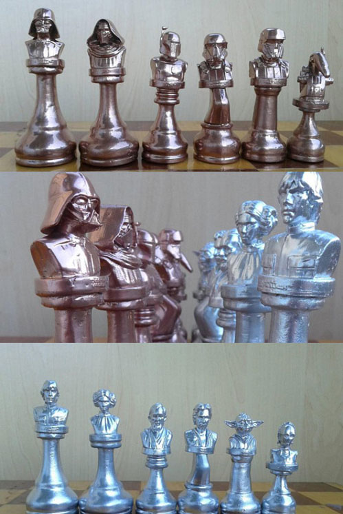 Handmade Copper/Silver Star Wars Chess Pieces