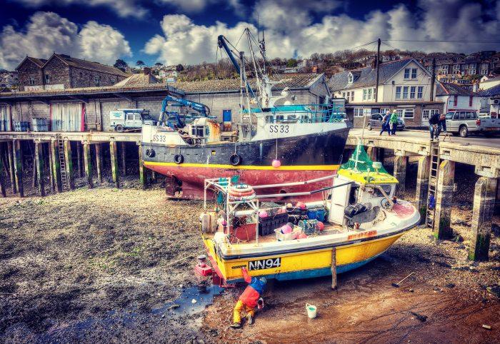Fishing boat repair at Newlyn, Cornwall