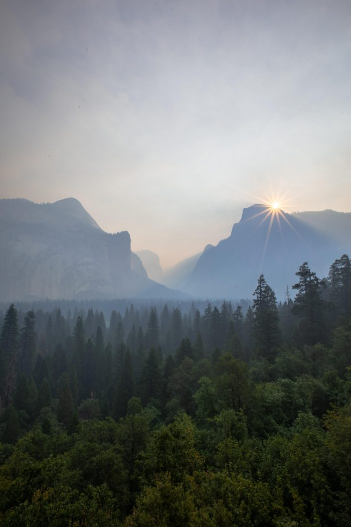 Smokey sunrise over an empty Yosemite Valley