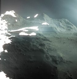This is a real photo of the surface of a comet.