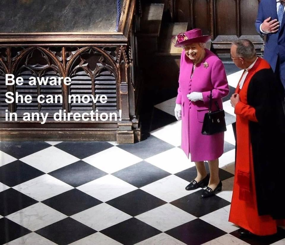 The Queen can move wherever she pleases, but the bishop is going to have move diagonally for thi ...