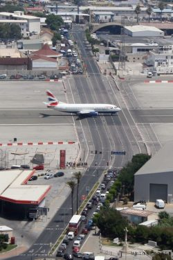 Gibraltar International Airport, The worlds only airport runway intersecting a road