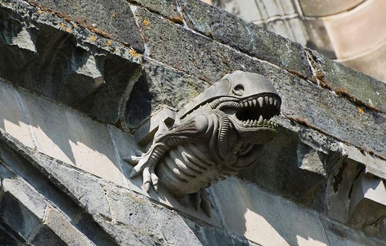Paisley Cathedral in Scotland has xenomorph gargoyles