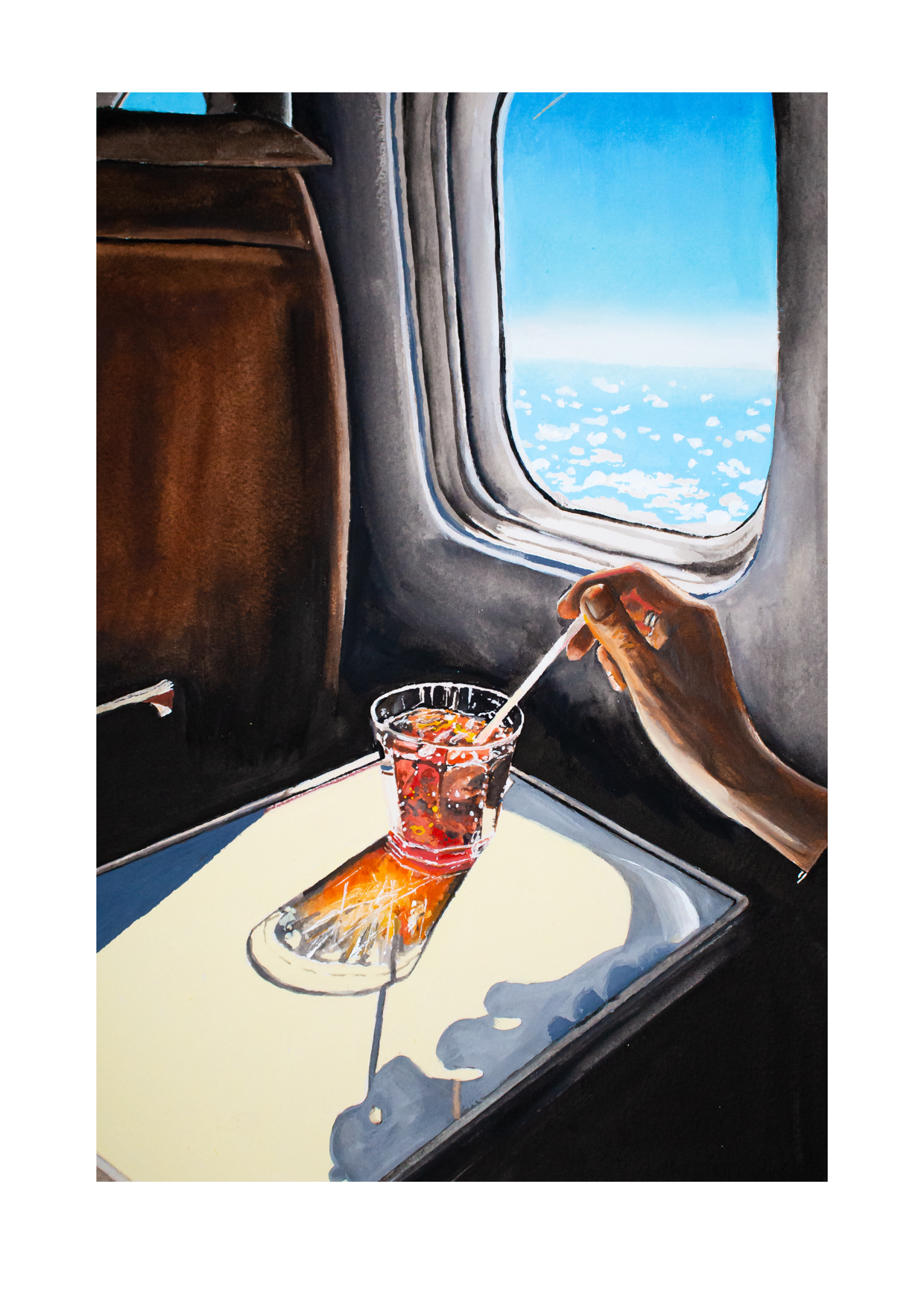 Glass on a plane, water and acrylic