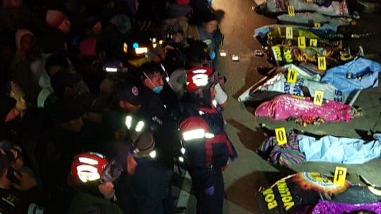 Guatemala: 32 dead after truck hits crowd gathered at road accident