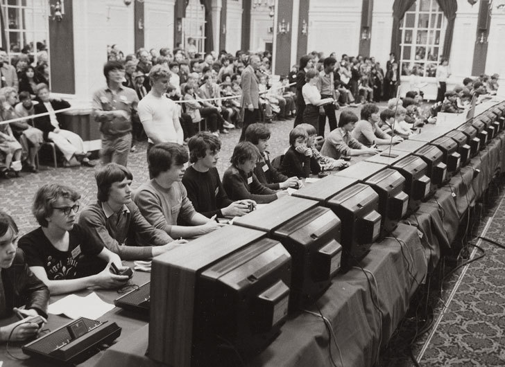 Gamers participating in the 1980 Space Invaders Championship, which was the first major video ga ...