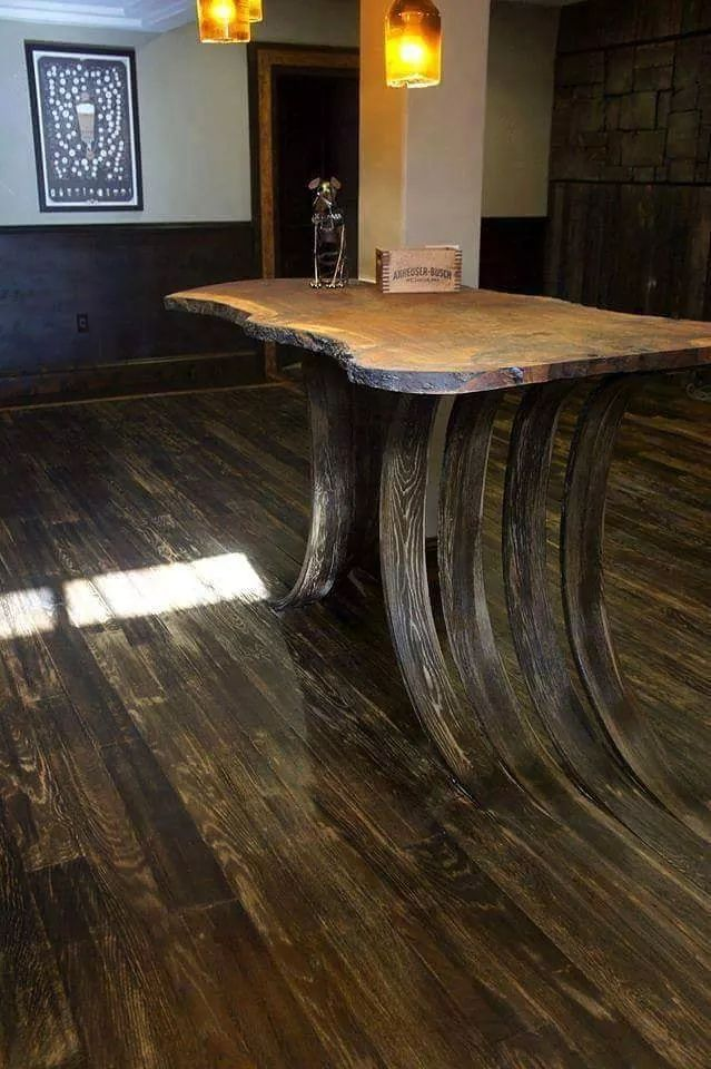 This awesome table grows out of the hardwood floor