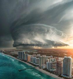 A storm approaching Miami Beach