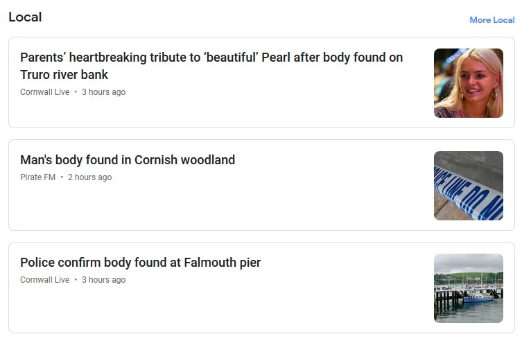 Oh Cornwall, poor people, suicide rates going through the roof, so sad, 3 reports in one day :(