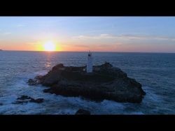 Godrevy lighthouse by drone