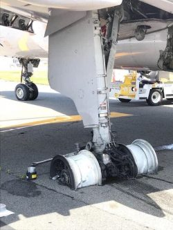 Wheels from the United flight that declared emergency during takeoff yesterday. No injuries.