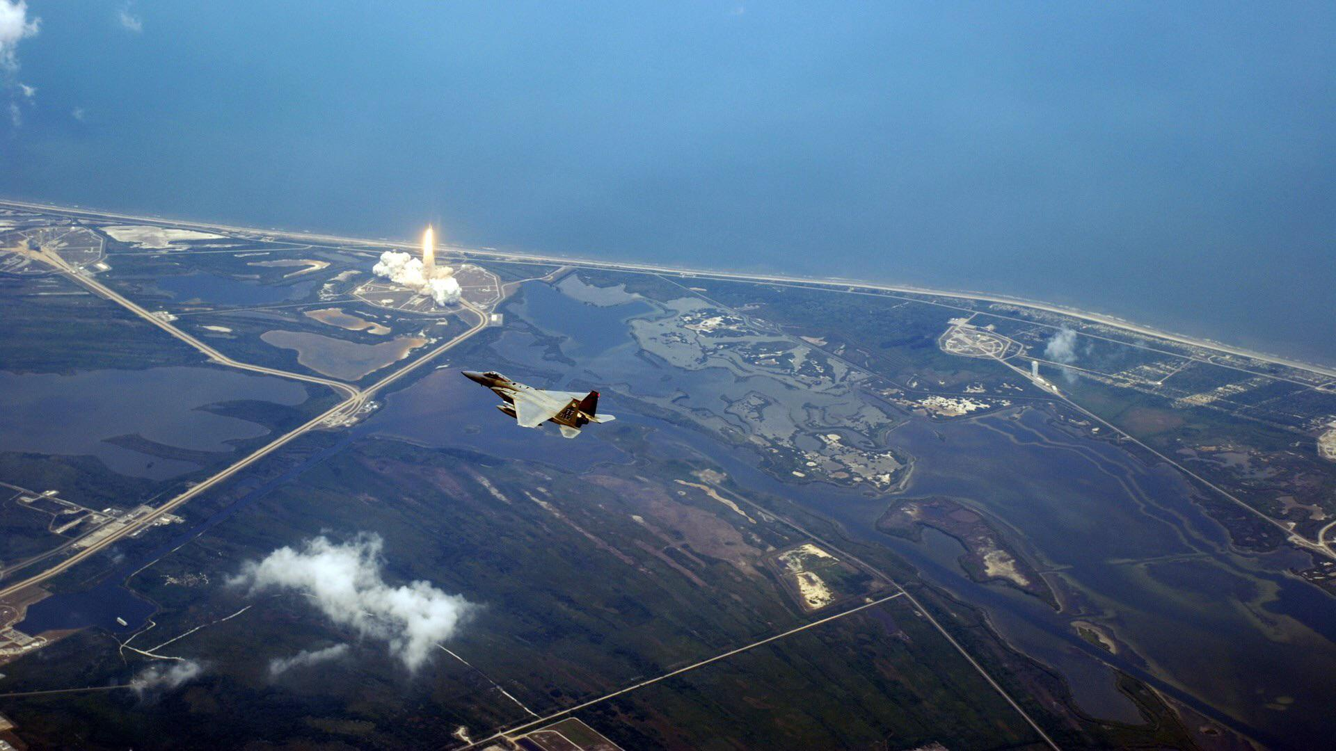 F15 on CAP during a shuttle launch