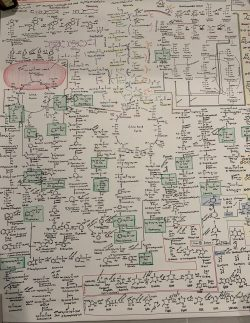 Hand drawn chart of all the metabolic pathways in the body.