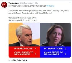 For those who don't believe the BBC is corrupt #BBCBias  2 interviews from Newsnight condu ...