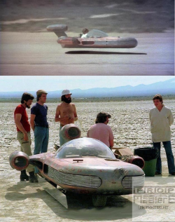 In Star Wars A New Hope 1977, all the wide shots of Luke flying across Tatooine in his speeder w ...