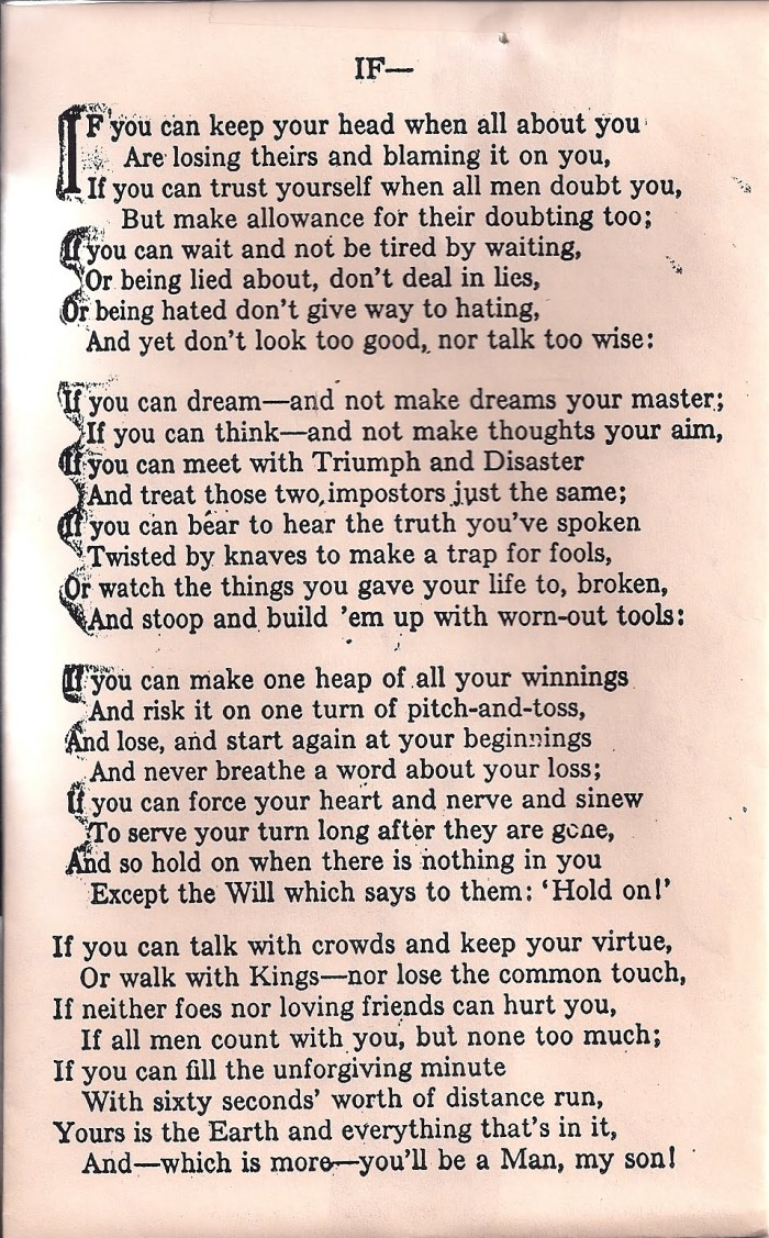 IF – Rudyard Kipling