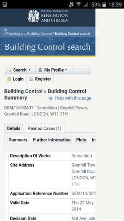 Kensington council website shows demolition plan of Grenfell tower