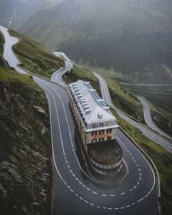 The famous abandoned Hotel Belvedere at the Furka Pass, Switzerland