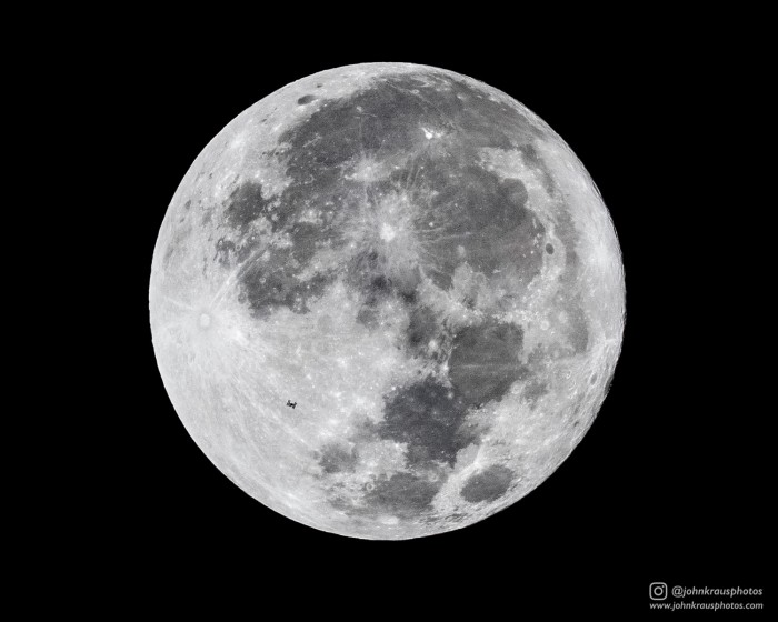 The International Space Station crossing a full moon! The ISS orbits Earth at 17,500mph, and thi ...