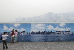 Fake Hong Kong skyline to hide the pollution