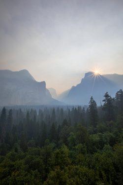 Smokey sunrise over an empty Yosemite Valley