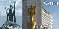 A hotel in Turkey actually ripped off the statue and the name of the fictional goddess Azura fro ...