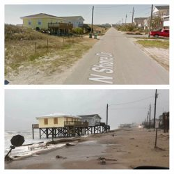 Before and After Comparison of a Street in Surf City, NC after Hurricane Florence