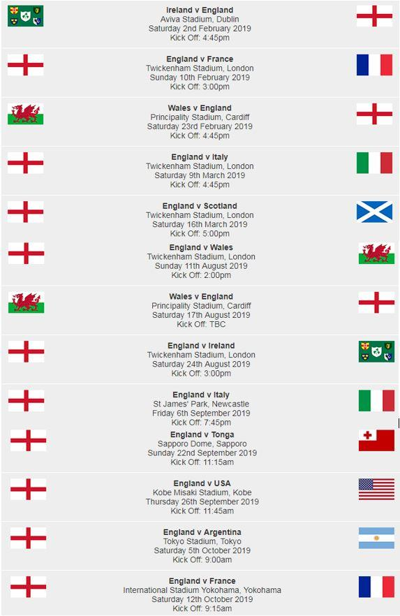 English rugby fixtures 2019
