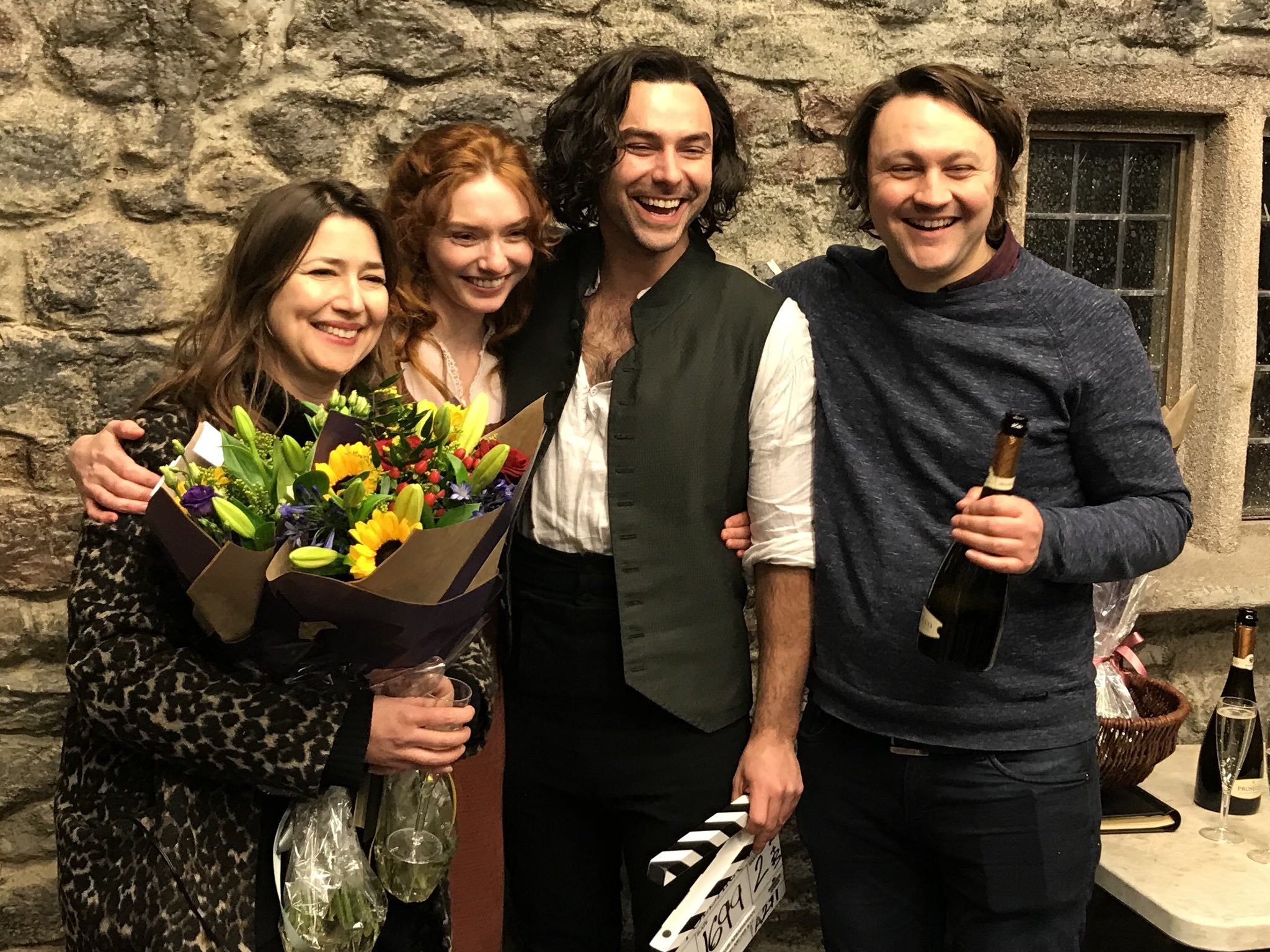 Poldark comes to end :( Debbie Horsfield (writer), Eleanor Tomlinson (Demelza), Aiden Turner (Ro ...