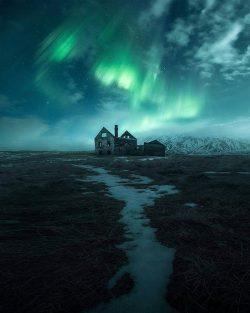 Aurora borealis over Iceland.