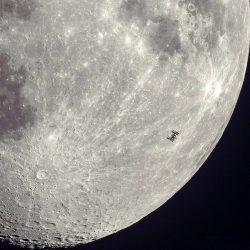 ISS transits across the Moon
