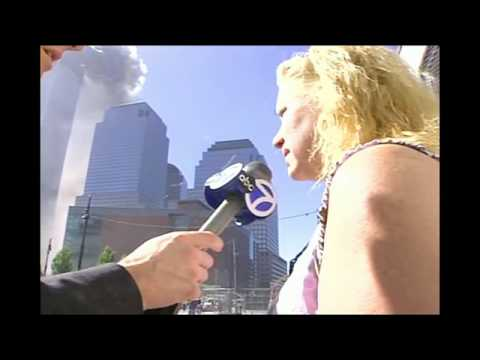Uncut news footage from a reporter on the ground during 9/11, second tower collapses at 13:12