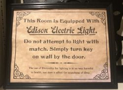 Found in an old US hotel, instructions for using new fangled electricity.
