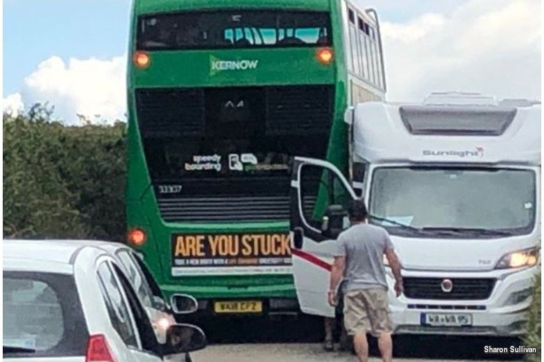 Bus gets wedged on coastal road in Cornwall and Oh, the irony…..