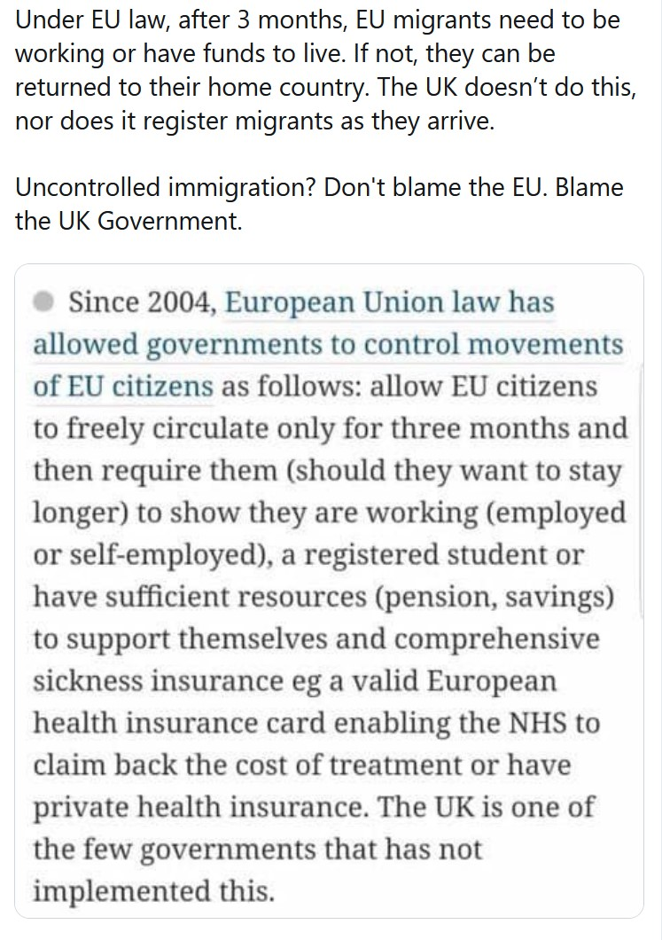 Under EU law, after 3 months, EU migrants need to be working or have funds to live. If not, they ...