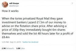 How it works  When the tories privatized Royal Mail they gave investment bankers Lazard £1.5m of ...