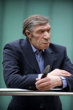Lifelike reconstruction of Neanderthal man in a modern setting – Neanderthal Museum , Germany