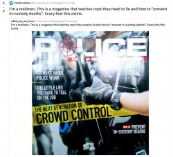 "I'm a mailman. This is a magazine that teaches cops they need to lie and how to ""pre ..."