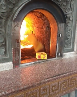 Notepages being sucked into a fire