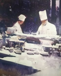 two chefs watercolour