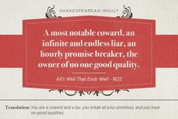 A most notable coward, an infinite and endless liar, an hourly promise breaker, the owner of no  ...