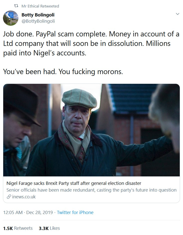 Job done. PayPal scam complete. Money in account of a Ltd company that will soon be in dissoluti ...