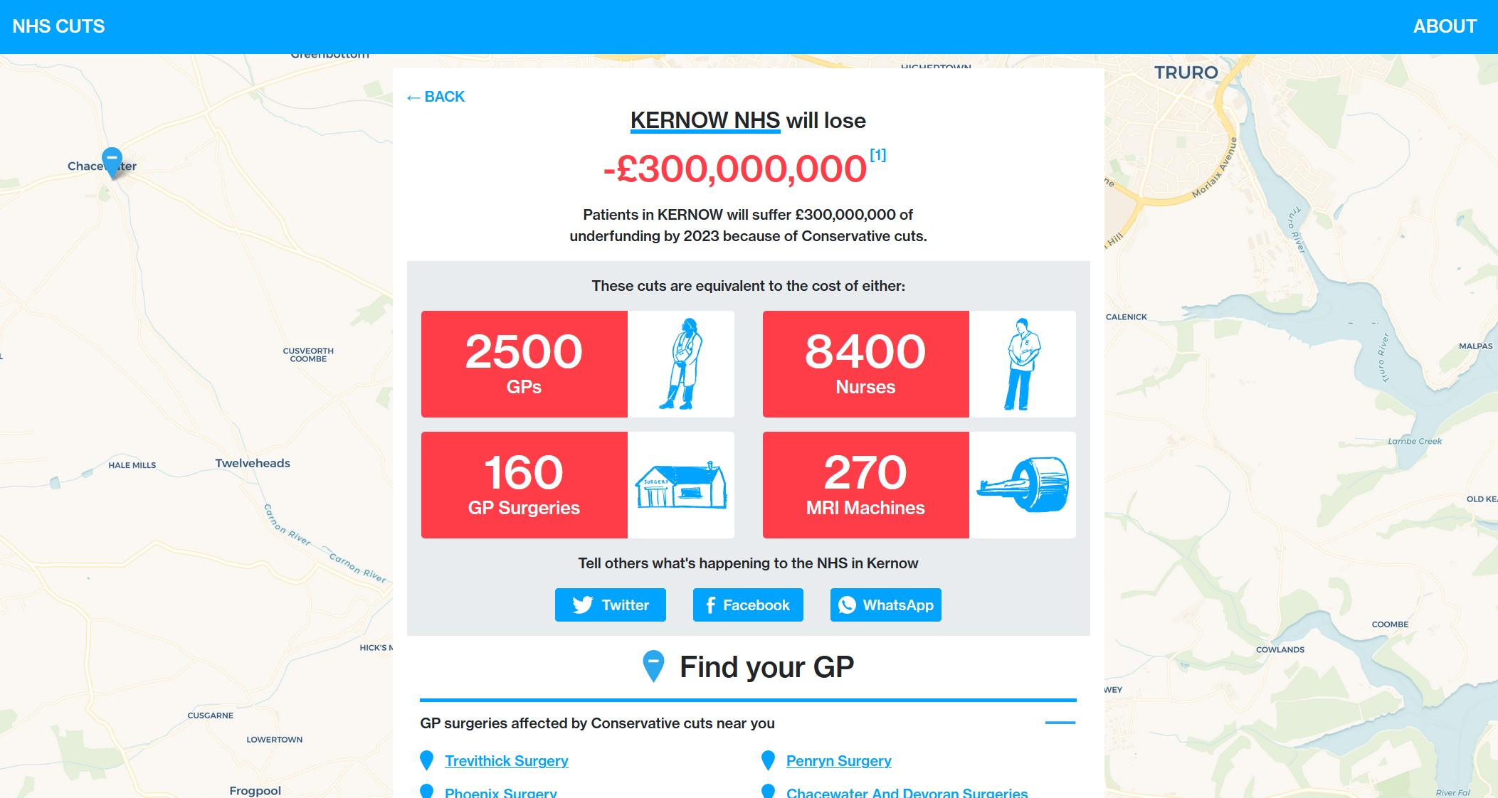 Scary stuff, just put in your postcode to see how cuts and underfunding affect the NHS in your area