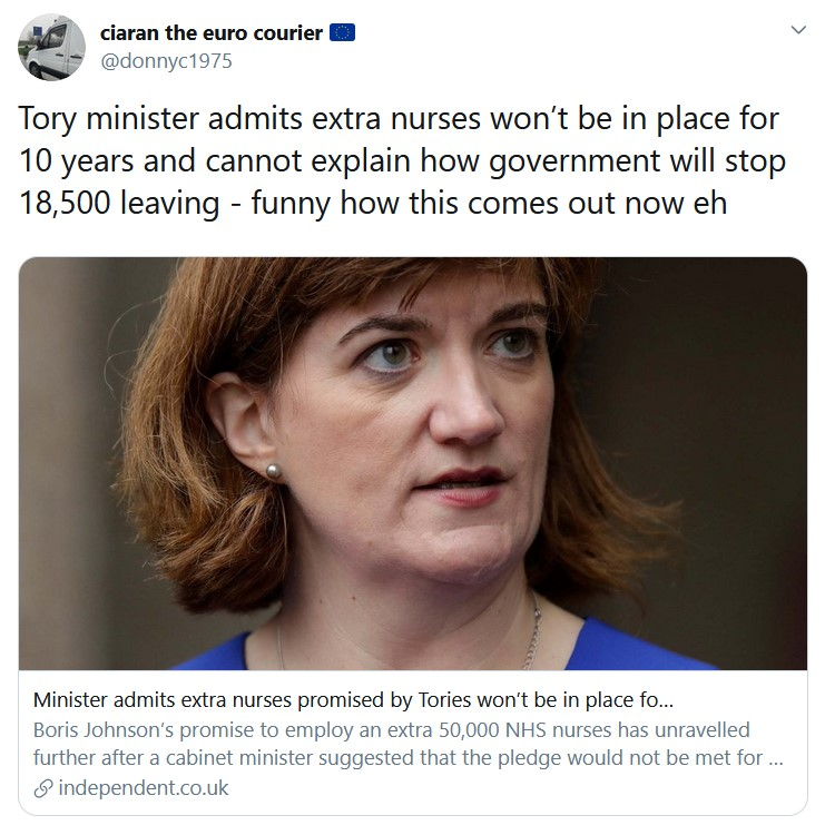 Tory minister admits extra nurses won't be in place for 10 years and cannot explain how governme ...